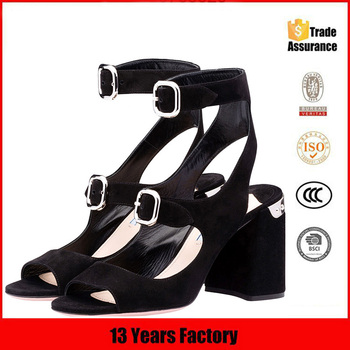 2017 new mid heel sandals lady shoes