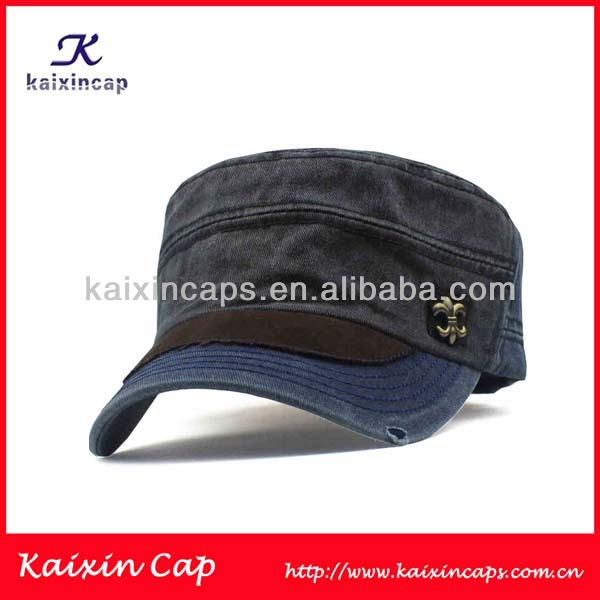 wholesale custom washed distressed/ fashion metal label military caps/ hats