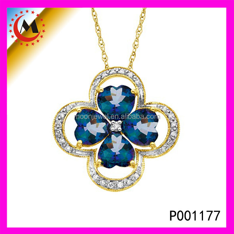 Fashionable Jewelry Four Leaf Clover Pendant With Blue Crystal Engagement