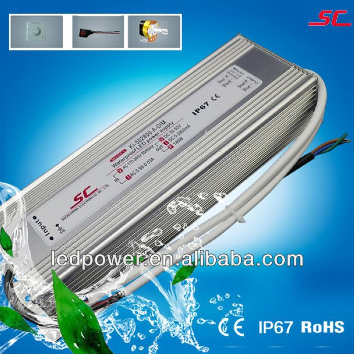 KI-502800-A-DIM 0/1-10/Potentiometer/10V PWM(3 in 1) dimmable 2800ma adjustable current led driver 140w