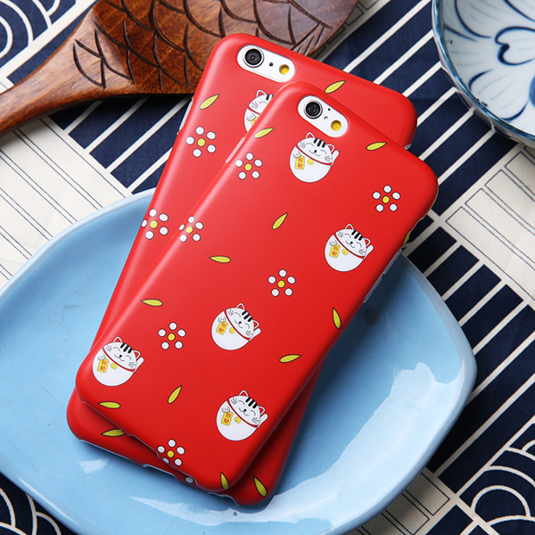 Cute lucky cat frosted IMD TPU phone cases for iphone6/6+
