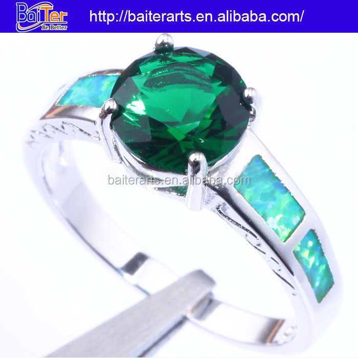 Hot ! 925 Sterling Silver Green Fire Opal Emerald Rings For Women,Emerald Gemstone Engagement Rings