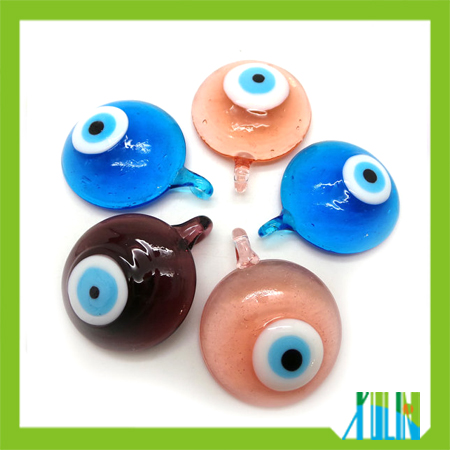 handmade round glass evil eye pendants