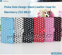 Case For Blackberry Z10 Polka Dot Skin Wallet Stand Case Leather Flip Cover With 30pcs/lot