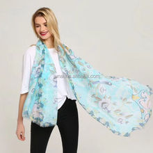 2018 new design summer fashion wool viscose floral printing scarf shawl with short tassel