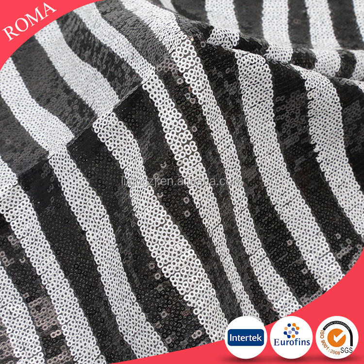 Shaoxing stripe design sequin fabric white and black color