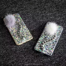 For Iphone 7 Glitter Phone Cases TPU Bling Shing Back Cover Case with fur ball For iPhone 7 plus