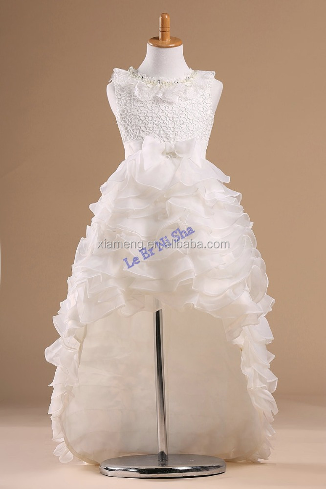high quality flowergirl frock long tail elegant custom made little gir wedding dress