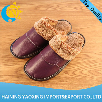 Hot sale cow hide indoor slippers ladies china 2017 oem manufacturer