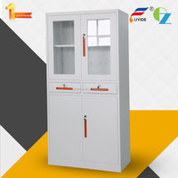 Hot sale new style modern shelf filing cabinet steel cupboard design for book with 2 glass doors