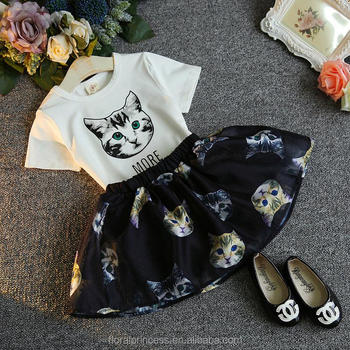 Girls dress suit Dot cat printed Bow t-shirt + tutu pettiskirt 2 pcs set outfit baby girl summer new set dress suit outfi