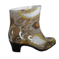 ladies vintage PVC ankle boots,good quality waterproof jelly shoes,one time injection plastic boots with heel