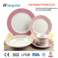 Round Blue and White Bulk Ceramic Tableware