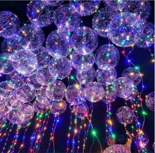 CYmylar helium stuffing new year Christmas wedding party bubble balloons round confetti feather led light bobo balloons