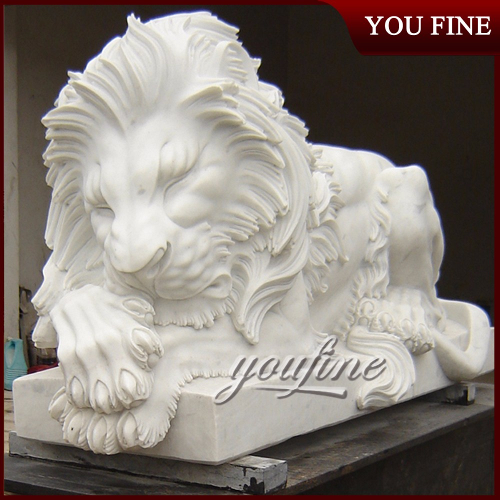 Outdoor Garden Natural Marble Lion Sculpture For Sale