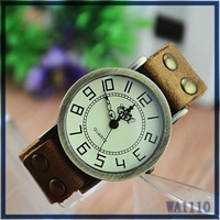 Hot sale in England fashion lady brand wrist watch antique metal round dial coffee leather watchband 2016 wholesale digit watch
