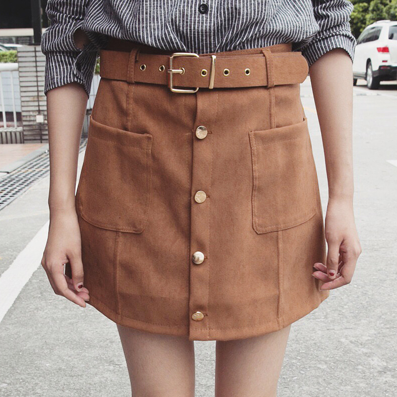 C66835A Korean style single-breasted skirt for ladies Suede fabric skirt