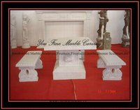 White Marble Table with Long Bench