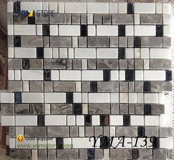 Silver Mirror Crystal Glass Mixed Metal Mosaic Tile