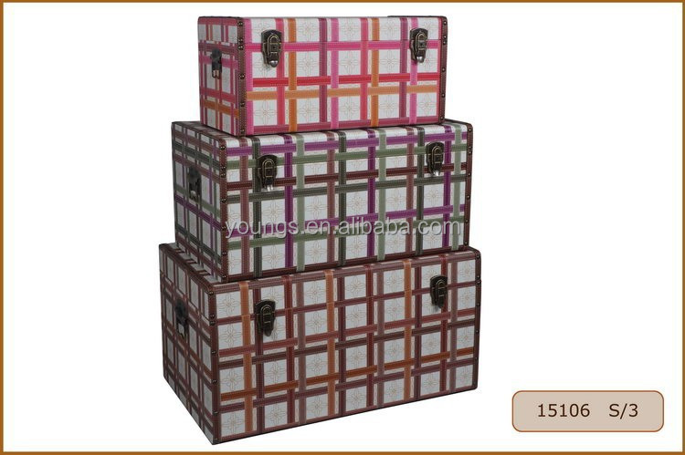 Large Underground Wooden Storage Container with PU Leather Covered