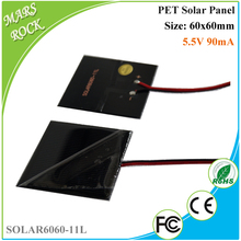 0.5W 5.5V 90mA Square 60mm Small Power PET Solar Panel with 24AWG wires for Toys, LED lights and charger