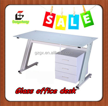 GX-607 modern executive glass top desk with cabinet in guangzhou