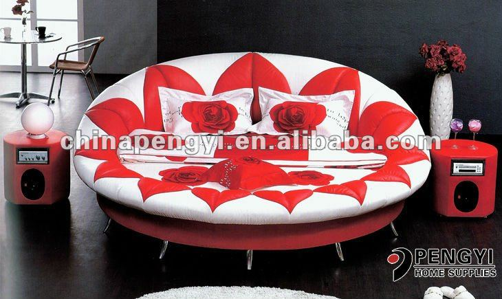 Fashionable design KIng size leather round bed on sale PY-007C
