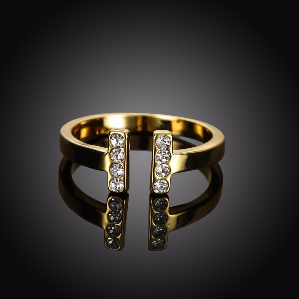 Simple Style Diamond Wedding Rings Yellow 1 Gram Gold Plated Rings with Wholesale Price