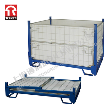 Industrial Collapsible Euro Type Folding Stacking Metal Pallet Cage