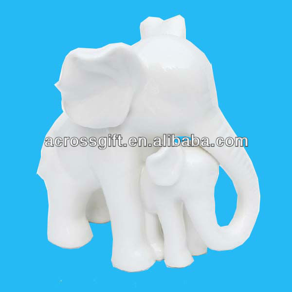 mother and baby elephant figurines white ceramic home decoration