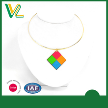 Tailor made Hot sales Die casting fluorescent Square Metal collar Jewelry Silver Pendant for children