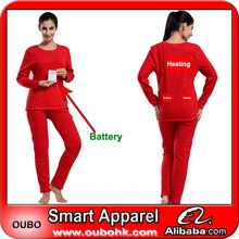 Trendy Red Heating Underwear For Big Women with battery electric heating clothing battery heated clothing warm OUBOHK