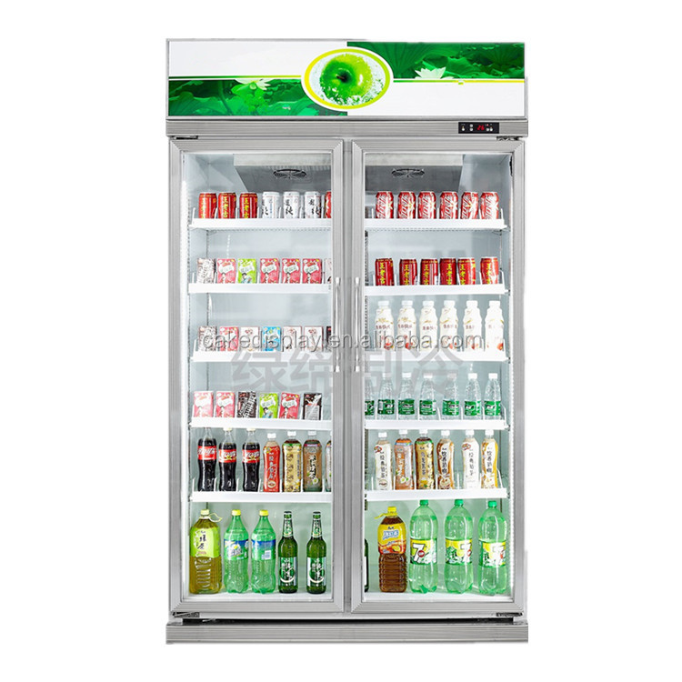 Commercial Beverage Fruit Display Refrigerator Showcase With Double Glasss Doors
