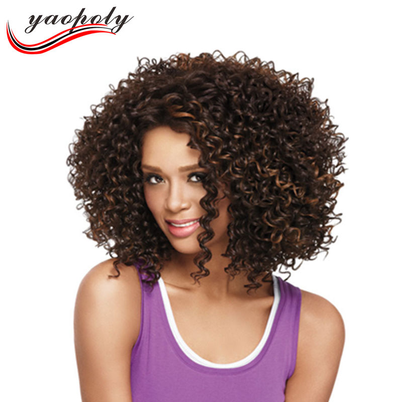 China supplier Fashion Cheap Afro Curly Wigs Synthetic Hair wigs African American for Black Women hair Wigs
