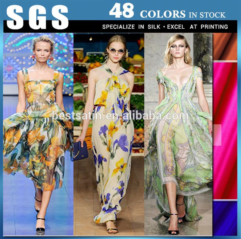 Pretty and colorful pure silk crinkle chiffon fabric