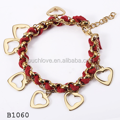 Women's Fashion 18k Gold Plated Stainless Steel Cuff Chain Heart Love Charm Bracelet Jewelry Import from China Manufacturer