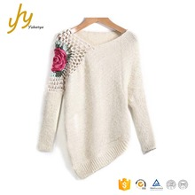 Good Quality Apricot Acrylic Pullovers Loose Custom Hand Embroidery Handmade Pullover Sweater
