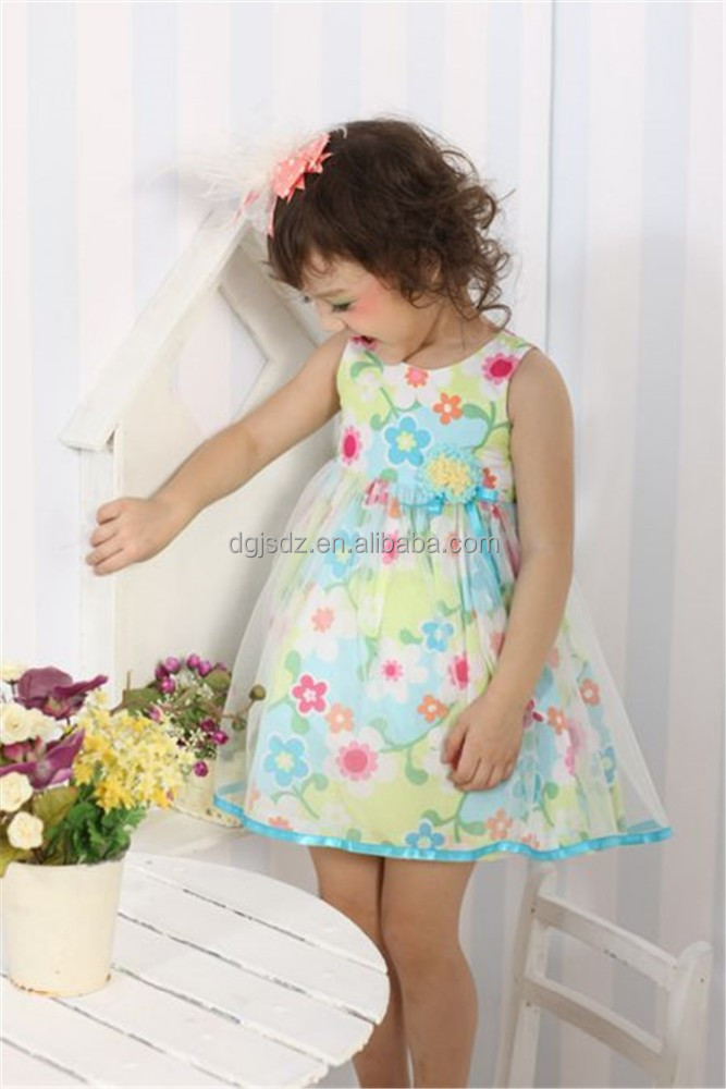 Vintage flower printed girl dress , Best selling baby clothes of Sharequeen