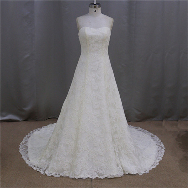 beaded off white lace custom design lace knee length wedding dress
