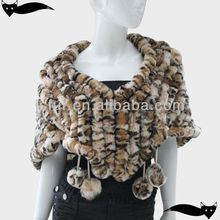 Genuine tiger print rex rabbit fur shawl