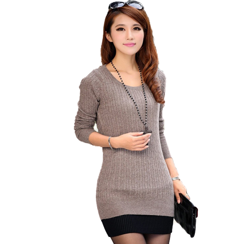Womens Sweaters Fashion 2015 Autumn Spring Elegant Women Sweater Medium Long Knitwear Basic Pullover Knitted Sweaters Femininas