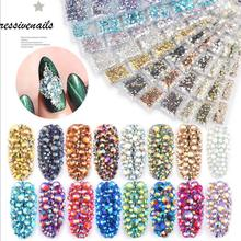 Colorful Nail Crystals AB Nail Art Rhinestones Round Beads Flatback Glass Charms Gems Stones