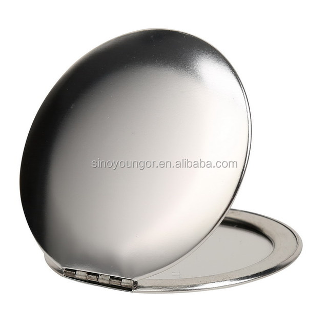 Newly style silver aluminum metal round pocket mirror makeup mirror