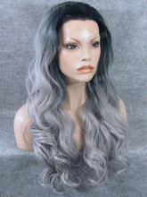 Natural Looking 24 Inch Long Wavy Synthetic Wig Dark Roots Ombre Grey SyntheticLace Front Wig with Heat Resistant