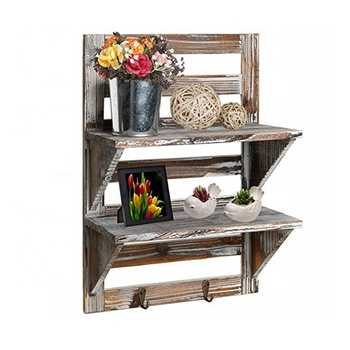 Wood Wall Floating Shelf Rack with 2 Key Hooks 2-Tier Rustic Gray