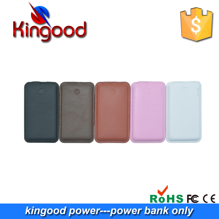 Electronic guangzhou li polymer rechargeable battery mini mobile powerbank 5000mah slim ,real leather power bank 5000 mah for hu
