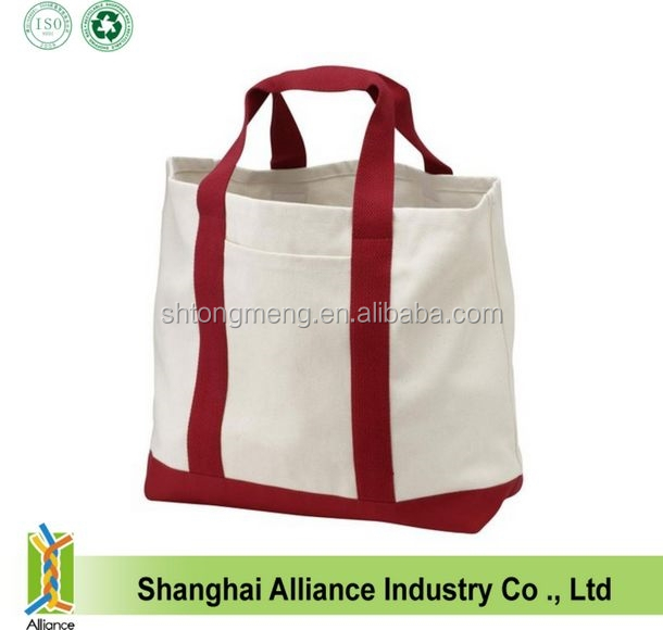 Promotional Heavy Cotton Canvas Two Tone Tote Bag(TM-CT-171)