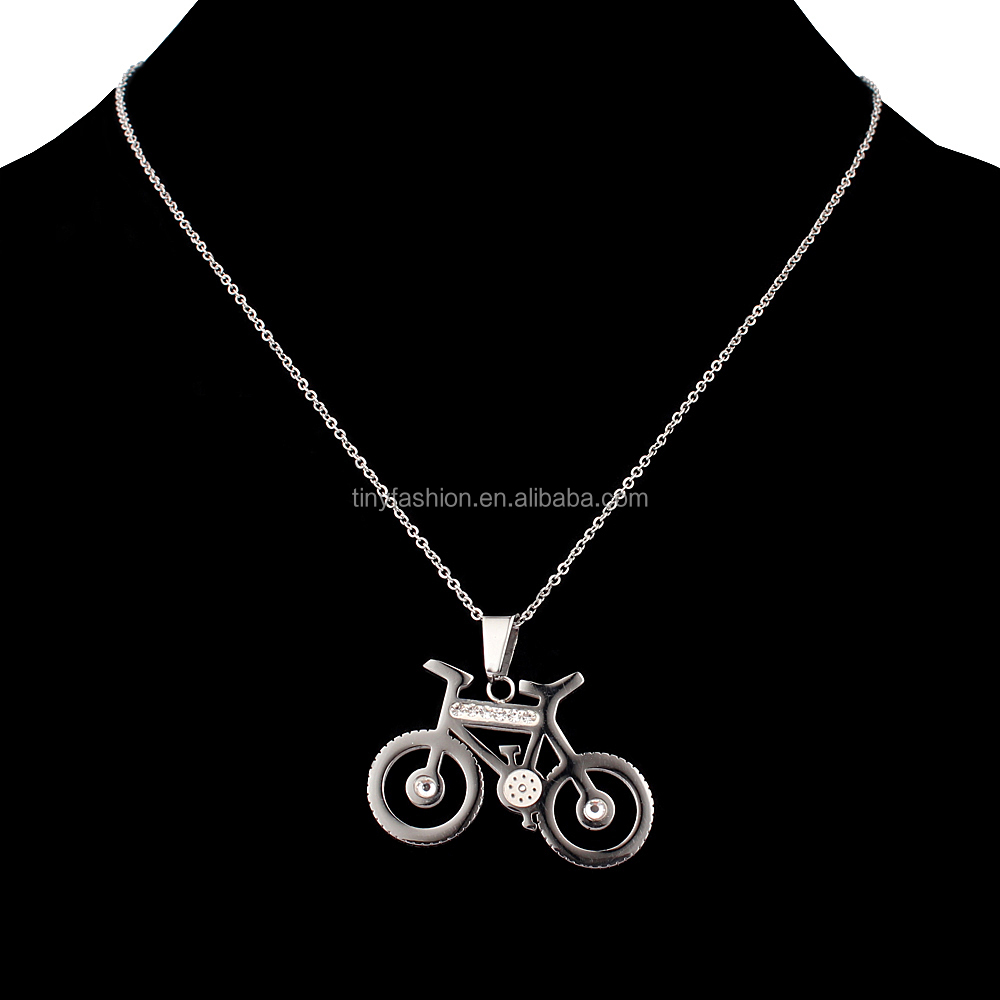 Wholesale Unique Stainless Steel Minimalist Custom Hollow Bicycle Charm Necklace with <strong>Crystal</strong>