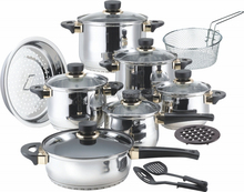 17pcs stainless steel decorated milano megaware cookware set