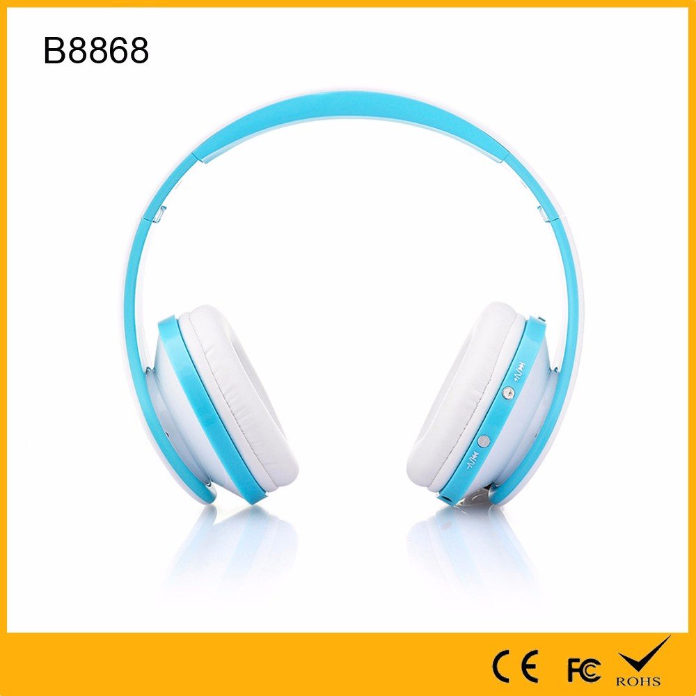 Promotional OEM different Color Wireless BT Headphone with FM Radio MP3 Player collapsible Head Phone